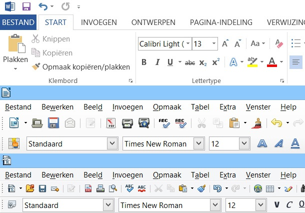 Interface Office 2013, LibreOffice 4.0, OpenOffice