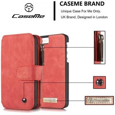 Caseme Apple iPhone 5/5s/SE Lederen Portemonnee Hoesje - uitneembaar met backcover (rood)