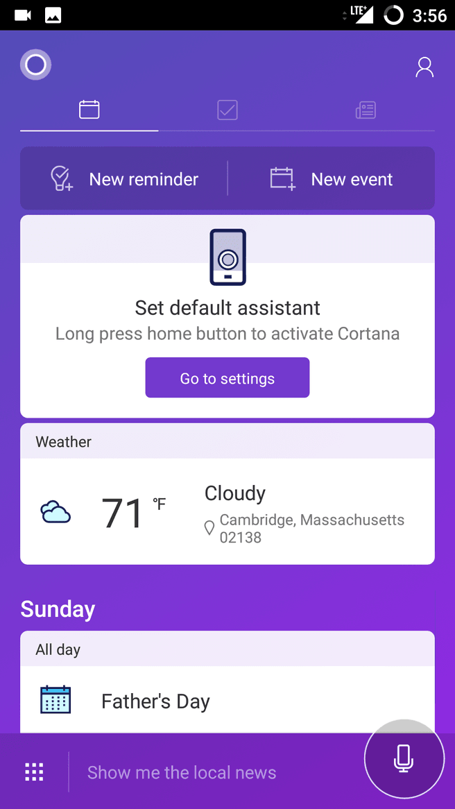 Cortana default Assistant on Android