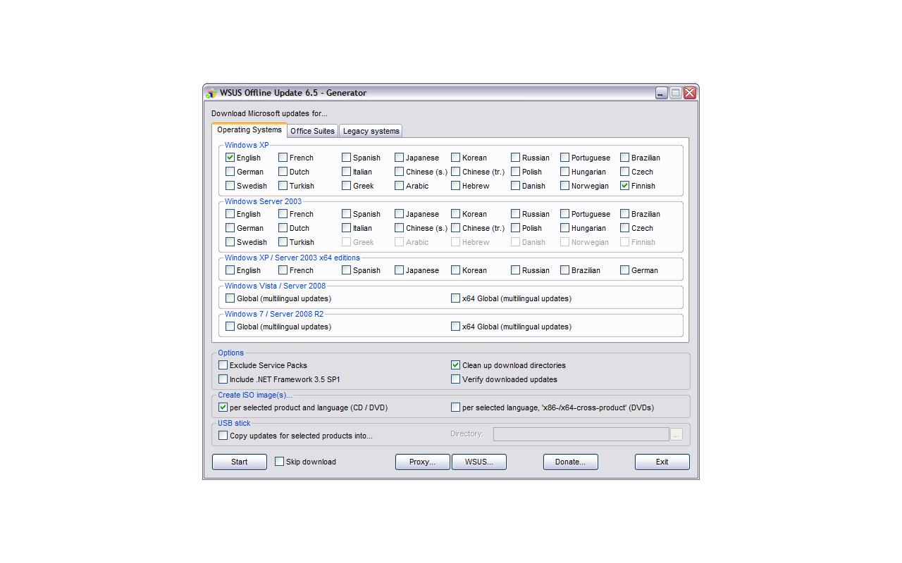 WSUS Offline Update 6.5 - Windows keuzescherm