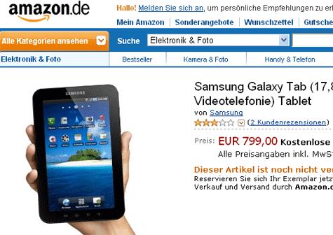 Galaxy Tab Amazon 799 euro