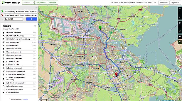 OpenStreetMaps routnavigatie
