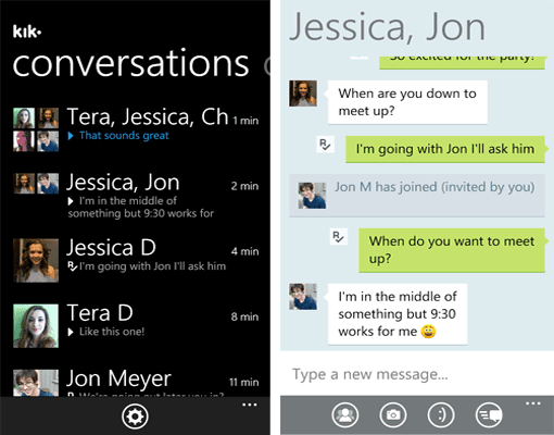 Kik Messenger op Windows Phone 7