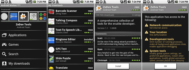 Android Market van Android 1.0