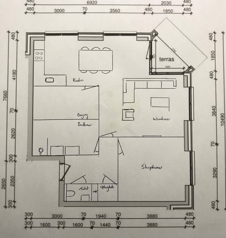 Indeling nieuwbouw appartement wonen verbouwen got for Woonkamer intekenen
