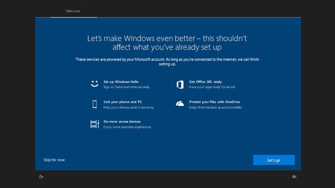 Windows 10 settings welcome preview