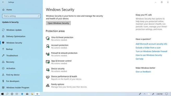 Windows 10 May 2019 Beveiliging