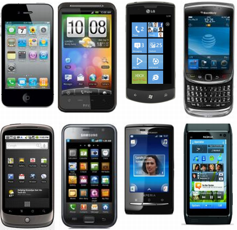 Smartphones van 2010: Apple iPhone 4, HTC Desire HD, LG Optimus 7, BlackBerry Torch, Google Nexus One, Samsung Galaxy S, SE X10 Mini en Nokia N8