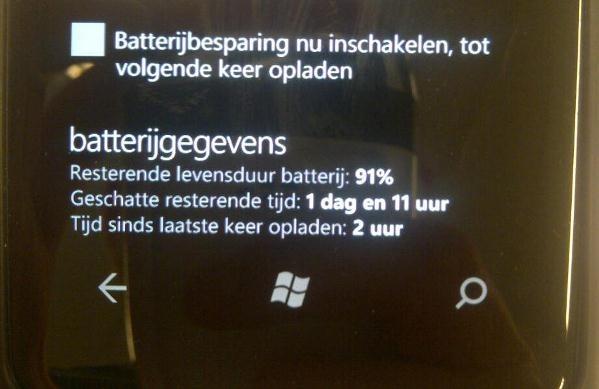 Lumia 800 batterijtijd na Hard reset