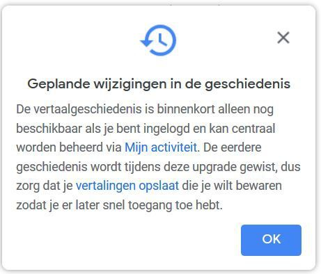 Google Translate-melding, februari 2020