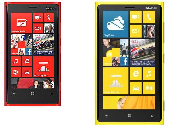 """Nokia Lumia 920 en Nokia-reuzentelefoon met 6""""-scherm, op schaal"""