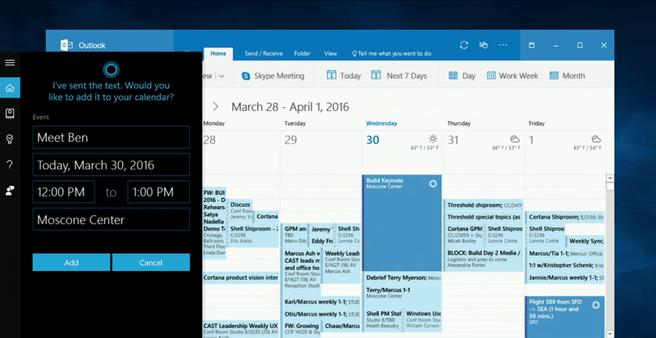 Cortana en Outlook