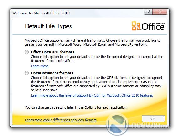 Microsoft Office 2010 keuzescherm