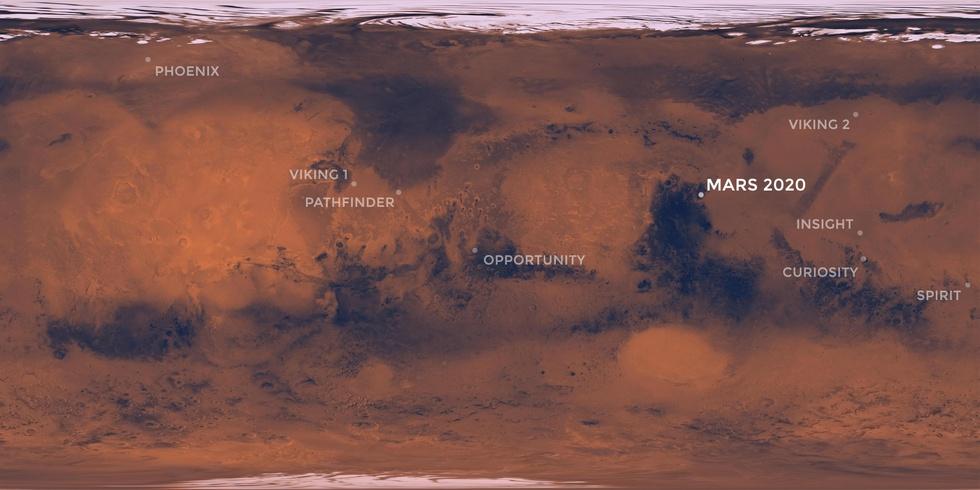 Landingsplaatsen van Marsrovers