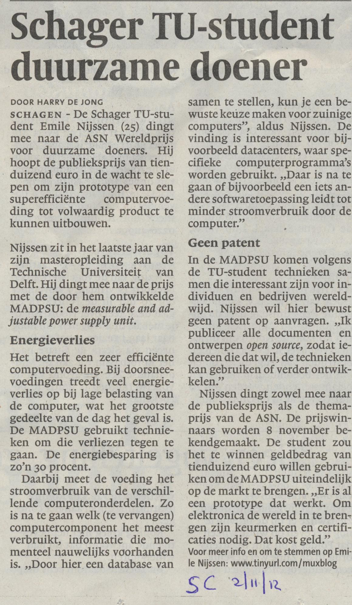 Ik in de Schager Courant