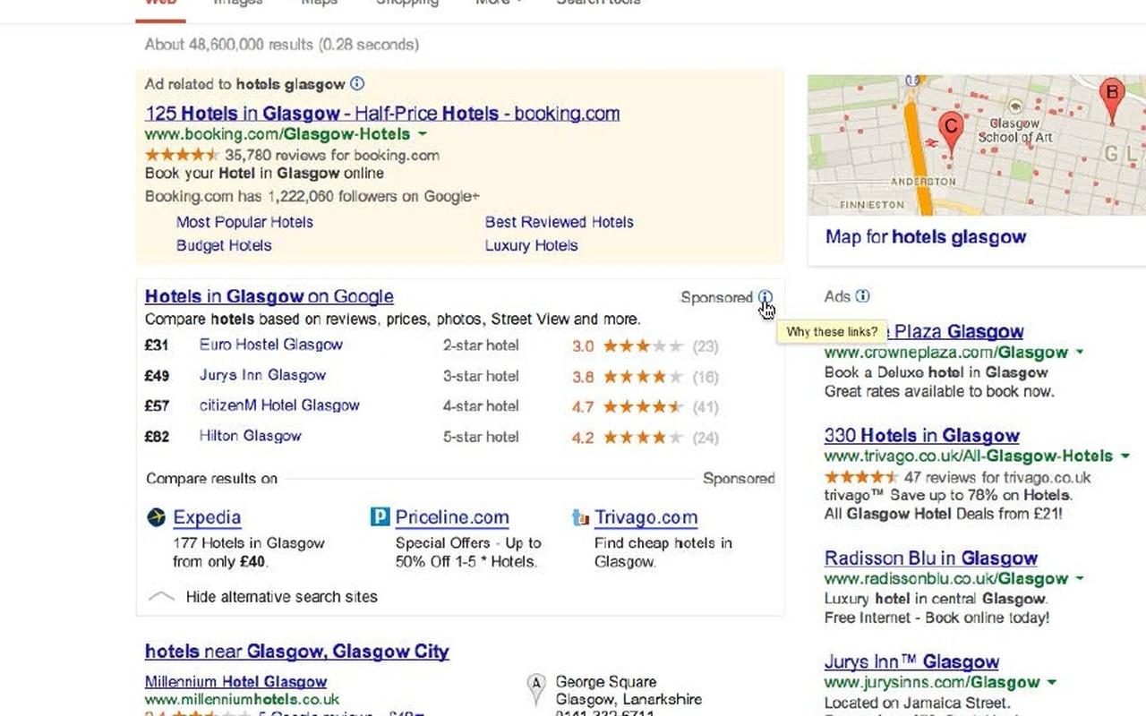 Google Almunia link hotel Glasgow