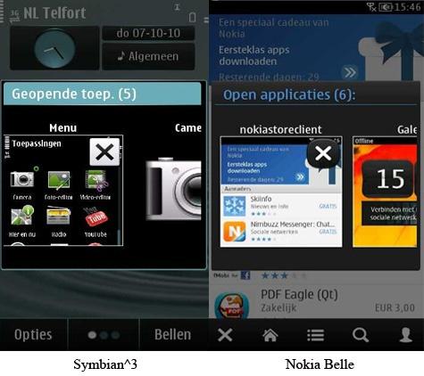 Symbian^3 en Nokia Belle - multitasking