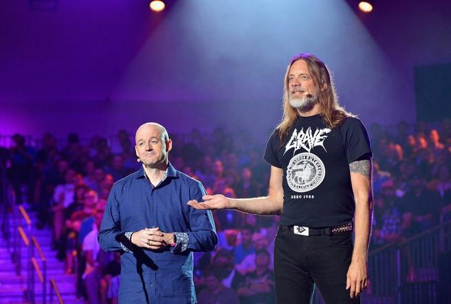 Magnus Nedfors van Avalanche Studios en Tim Willits van id Software tijdens E3 2018