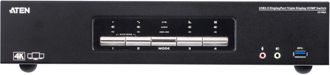 Aten CS1964 4-Port USB3.0 4K DisplayPort Triple Display KVMP™ Switch