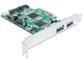 Goedkoopste Delock PCI Express Card > 2 x external USB 3.0, 2 x internal SATA 6 Gb/s