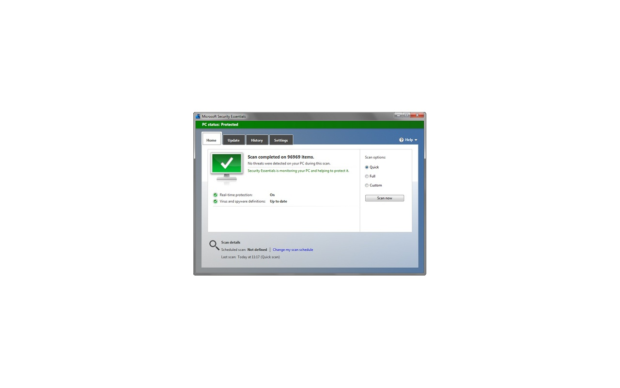 Microsoft Security Essentials 4.0.1526 screenshot (481 pix)