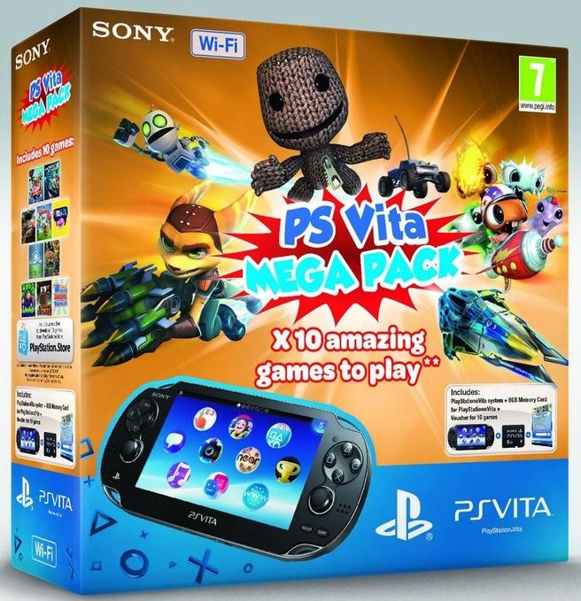 Sony PlayStation Vita WiFi Megapack + 8GB Zwart