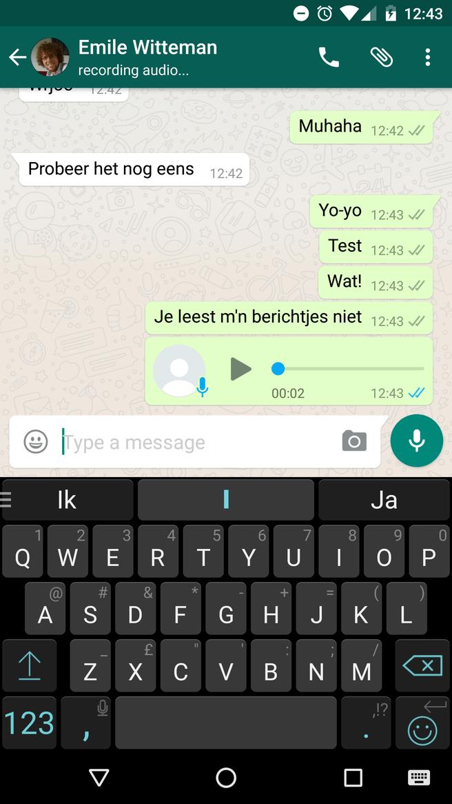 Whatsapp leesbevestiging geluidsopname