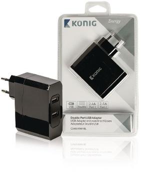 König Universele USB-adapter met dubbele poort, 2.4 A en 2.4 A (CS48UW001BL)