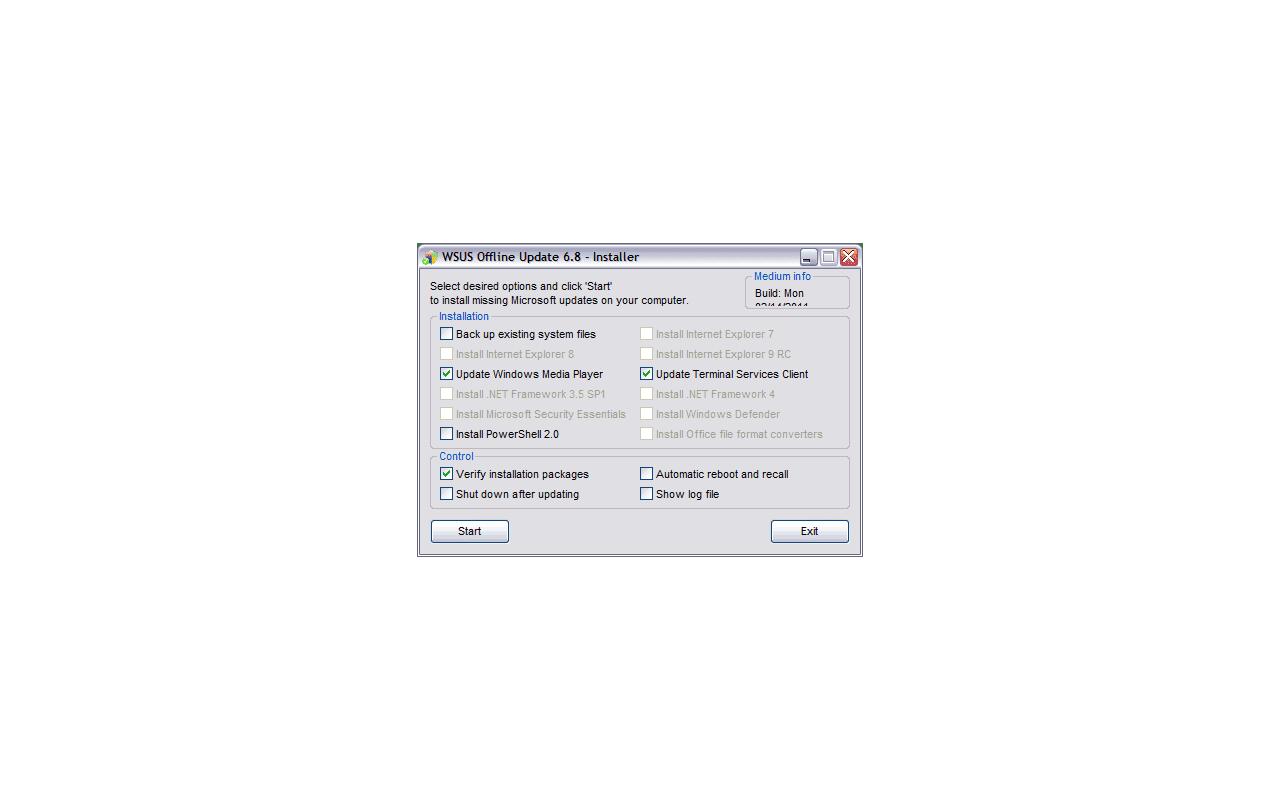 WSUS Offline Update 6.8 - Installer screenshot