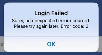 Facebook-foutmelding op iOS, maart 2019