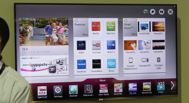 LG Smart TV 2013 home screen