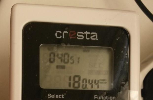 Meest opgenomen vermogen is 18 Watt, gemiddelde is 8 Watt