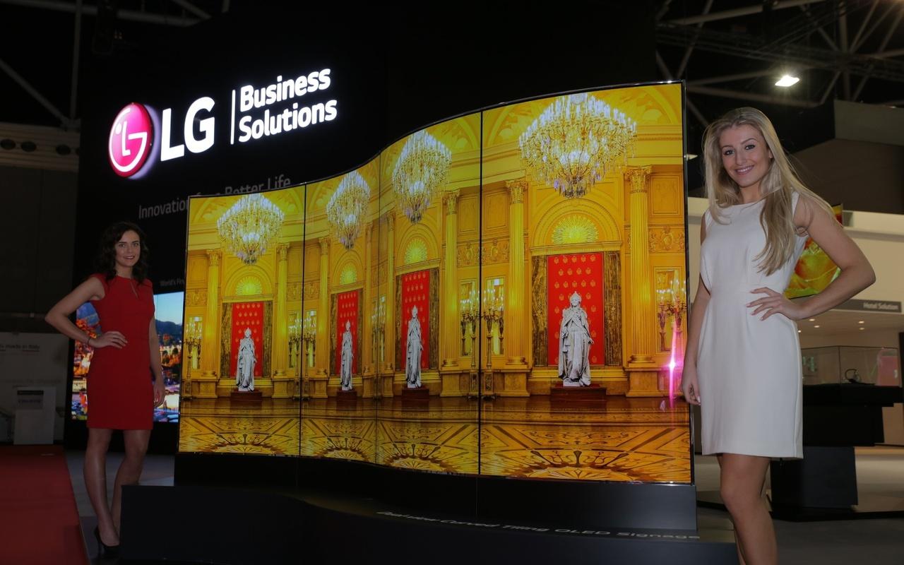 LG gebogen oled reclamescherm