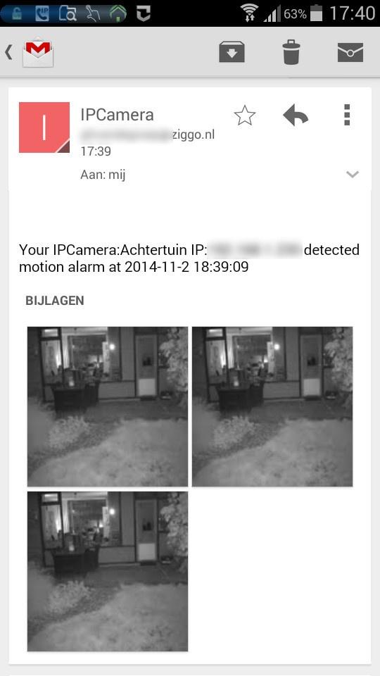 Gmail voorbeeld ontvangen camera beelden