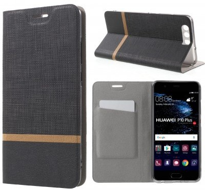 qMust Huawei P10 Plus Wallet Case - TPU frame - Striped Black