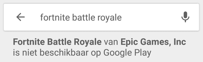 Fortnite Play Store melding
