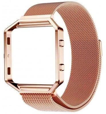 qMust Milanees armband voor Fitbit Blaze met frame - Magnetische sluiting - rose goud