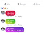 Facebook: gekleurde reacties