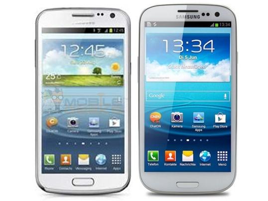 Vermoedelijke Samsung Galaxy Premier naast S III