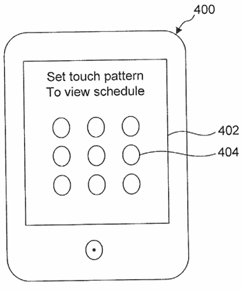 Google Android Pattern Unlock patentaanvraag