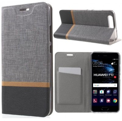 qMust Huawei P10 Wallet Case - TPU frame - Striped Grey