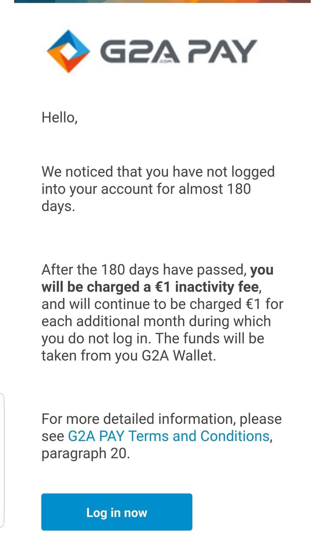 G2A PAY schrijft maandelijks een euro af bij inactieve