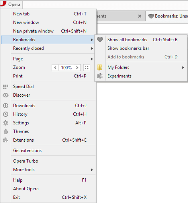Bookmark-functionaliteit in Opera
