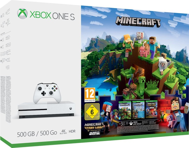 Microsoft Xbox One S 500 GB + Minecraft, Minecraft: Story Mode, Minecraft: Explorer Pack Wit