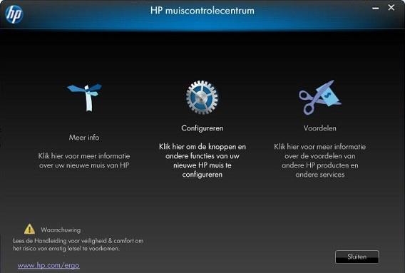 HP muiscontrolecentrum start scherm