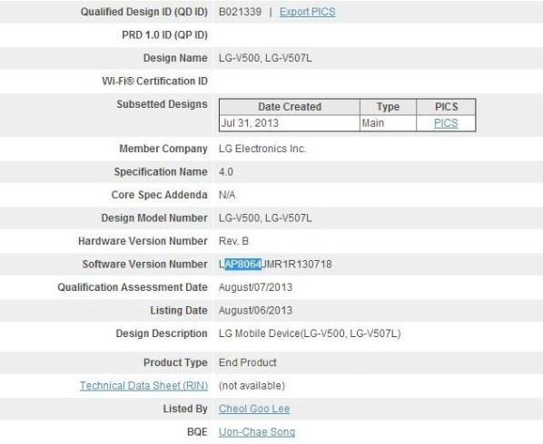 LG V500 -- Bluetooth SIG