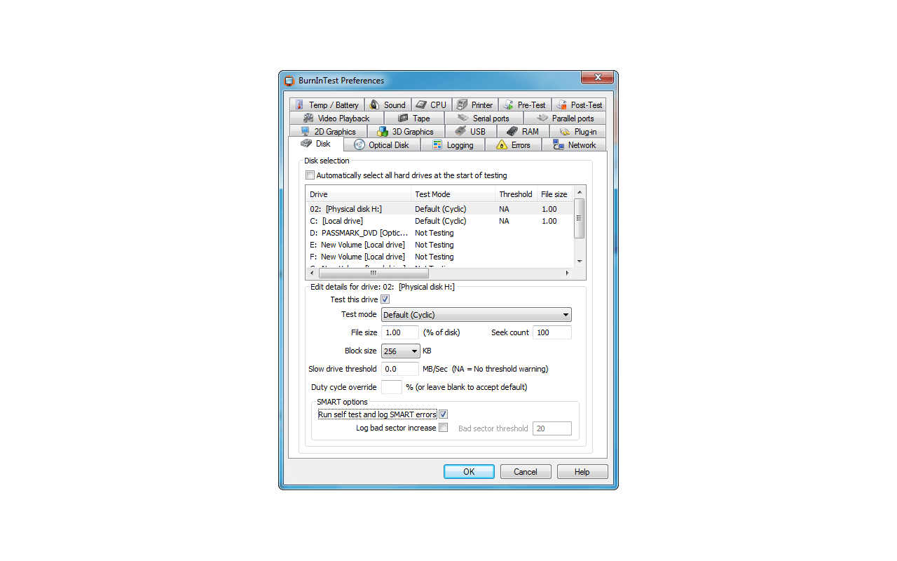 PassMark BurnInTest 7.0 screenshot