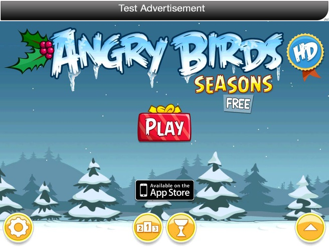Testadvertentie iAd in Angry Birds (iPad 1, iOS 4.2, oude versie Angry Birds Seasons)