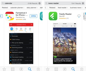Apple iOS App Store - related search (bron: Macstories)