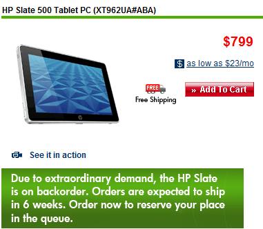 HP Slate uitverkocht
